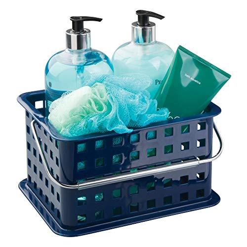 InterDesign Basic Cesta organizadora, canasto Organizador de baño de tamaño pequeño en plástico para artículos de Ducha y cosmética, Azul Marino