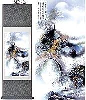 中国の巻物アート 中国の壁の壁画スクロール絵画花の風景スクロール絵画壁の装飾吊り芸術描画風水の装飾的な絵画簡単な設置壁アート禅の装飾 家の装飾のために掛ける準備ができている風水絵画 (Color : 100*30cm)