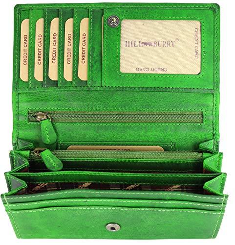 Hill Burry hochwertige Vintage Leder Damen Geldbörse Portemonnaie langes Portmonee Geldbeutel aus weichem Leder in grün - 17,5x10x3cm (B x H x T)