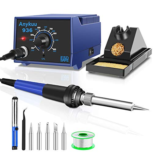 Anykuu Soldering Stations 60 W Soldering Iron Set with 200~480 °C Temperature Control Pluggable Antistatic Temperature Control Soldering Station for Beginners and Professionals