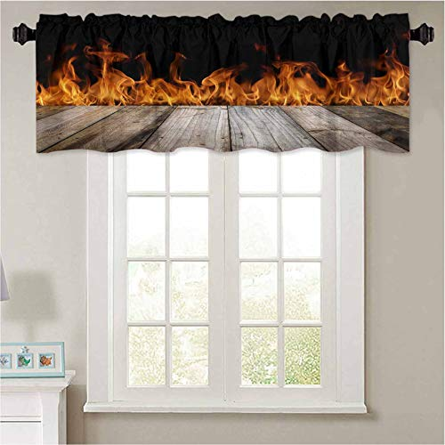 YUAZHOQI Short Straight Drape Valance Wood top Divides to Parts on Fire Flames Black Background can be Used for Display or Montage Your Curtain Valance Window Treatment for Living Room 50' W x 18' L