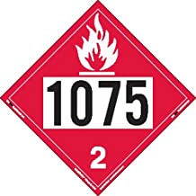 Labelmaster ZT8-1075 UN 1075 Flammable Gas Hazmat Placard, Tagboard (Pack of 25)