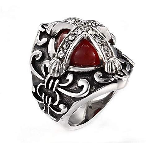 NA Anillos de Acero Inoxidable con Cruz de Diamantes y Piedras Preciosas Rojas góticas Retro para Hombres