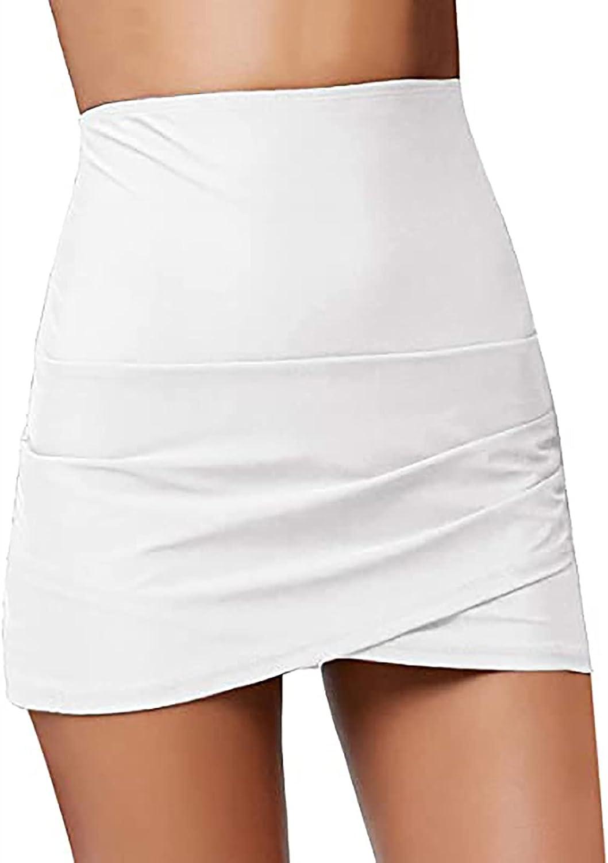 RKSTN Womens Bikini Bottom Tankini Swim Skirt Swim Shorts Solid Bathing Suit Coverup Hem Beach Skorts