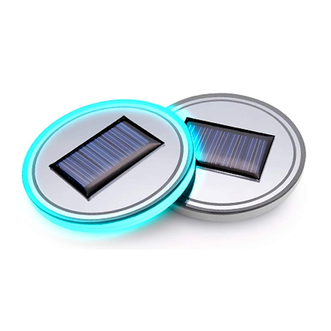 (Pack of 1) Solar Energy LED Car Cup Holder Bottom Pad Mat Interior Lights Fitment Trim Lighting for Mitsubishi Pajero Sport Fortis Mirage lancerevo Lancer Eclipse Outlander Galant ASX Accessories