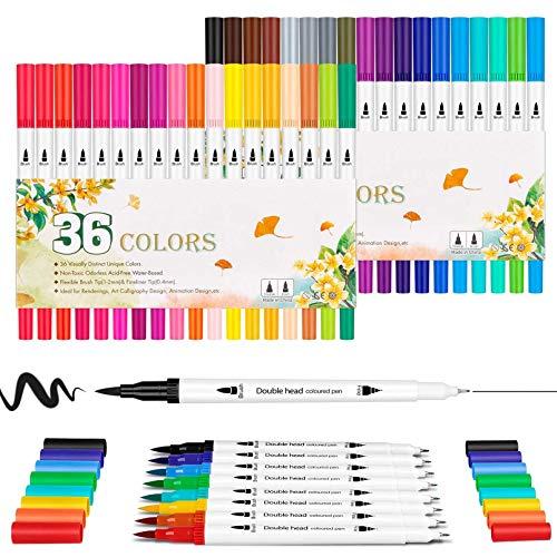 デュアルチップブラシマーカーペン 0.4 ファインポイントアートマーカー&カラーブラシ蛍光ペン 子供 大人 塗り絵 図面 プランナーカレンダー 書道 レタリング DIY アートクラフト (36色) (ホワイト)