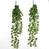 2Pcs Plantas Colgantes Hiedras Artificiales Enredaderas Guirnaldas Decorativas para Decoracin Fiesta Boda Escalera Pared Exterior