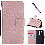 LG Nexus 5X Case,LEECOCO Fancy Embossed Floral Wallet Case with Card/Cash Slots [Kickstand] Premium PU Leather Flip Case Cover for LG Google Nexus 5X with 1 x Stylus Pen Mandala Rose Gold
