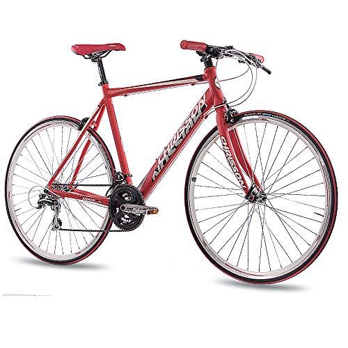 CHRISSON 28 Zoll Rennrad Fitnessrad AIRWICK rot 56 cm mit 24 Gang Shimano Acera Schaltung, Urban Fahrrad für Damen und Herren, Road Bike