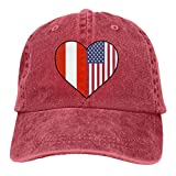 Ahdyr Gorra de béisbol Unisex Sombrero de Tela Vaquera Austrian Half America Half Heart Ajustable Snapback Topee-Red