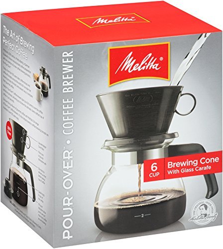 Melitta Pour-Over Coffee Brewer w/ Glass Carafe, 6 Cups (6 Ounces per Cup)