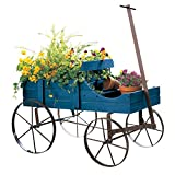 Amish Wagon Decorative Indoor/Outdoor Garden Backyard Planter, Blue