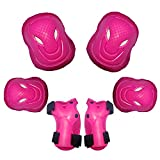 FUTTEK Knee Pads for Kids, Girls Elbow Pads with Wrist Guards, Toddler Protective Gear Set for Cycling/Skateboarding/Inline Skating/Scooter/Roller Skating/BMX Bike Sports, Pink