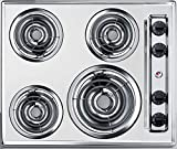 Summit Appliance ZEL03 24' Wide 220V Electric Cooktop in Chrome Finish Fits Popular Cutout Size with 4 Coil Elements, Chrome Drip Bowls, Push-to-turn Controls, Recessed Top