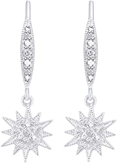 Aria Jewels Natural Diamond Accent Starburst Drop Dangle Earrings in Gold Plated 925 Sterling Silver for Women (1/20 cttw, I-J Color, I2-I3 Clarity)