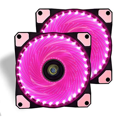 conisy Ventilador de PC, 120 mm LED Gaming Ultra Silencioso Ventiladores para Caja de Ordenador (Doble Rosa)