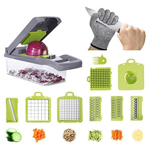 Atuwebo Cortador de verduras y frutas, cortador de patatas con guante protector para cebollas, mandolina para dados, rodajas, rallar y rallar