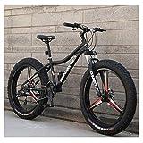 Qj Bicicletas De Montaña, Bicicleta De Montaña Rígida De Acero Al Carbono De 26 Pulgadas, Bicicleta De Montaña Todo Terreno Fat Tire, Bicicletas Antideslizantes para Hombres,Negro,24Speed