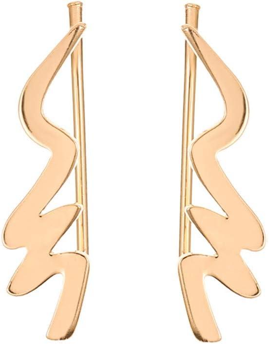 SOURBAN Ear Climber Earrings Wave Hollow Ear Crawler Cuffs Earrings for Women Gift