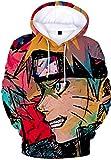 PANOZON Hombre Sudadera con Capucha Figura Impresa de Naruto Mangas Largas (4XL, A Cara Lateral-1)