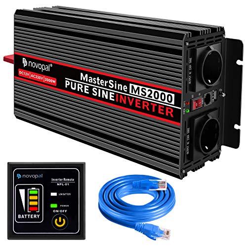 Convertisseur Pur Sinus 2000W-DC 12V à AC 220V/230V Onduleur-2 Prise EU de Courant Alternatif et 1 Port USB-télécommande avec INCL. 5 mètres-Puissance de Pointe 4000W transformateur de Tension
