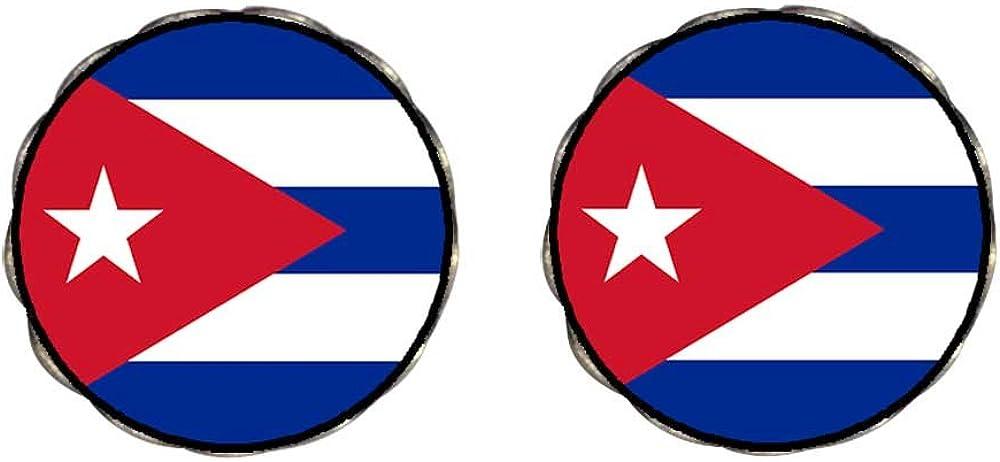 GiftJewelryShop Bronze Retro Style Cuba flag Photo Clip On Earrings Flower Earrings 12mm Diameter