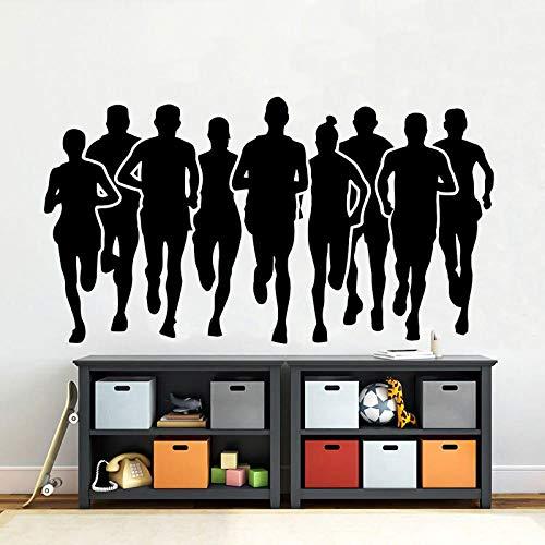 Marathon Runner Wall Decal Running Sport Run Athletic Club Fitness Poster Gym Vinyl Wall Sticker Decoración para el hogar Sala de niños Mural 76x42cm