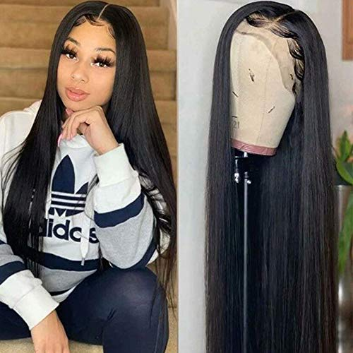 Maxine Straight Wave Human Hair Wigs 360 Lace Frontal Wig Pre Plucked With Baby Hair 10A Silky Straight Brazilian Virgin Hair Glueless Wigs For Women Natural Black Color Slightly Bleached Knots (16 Inch, 360 Lace Wig)