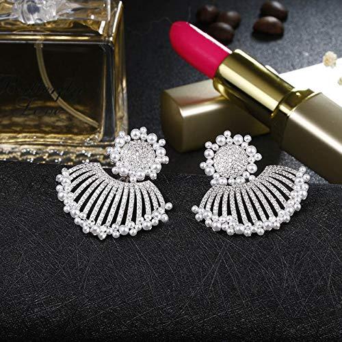 Elegante forma de flor simulada perla aretes para mujer boda rojo cz piedra aretes joyería de moda