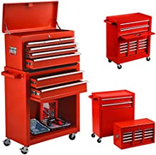 8-Drawer Tool Chest Big Removable Tool Chest Rolling Tool Box with Wheels and Drawers Tool Cabinet Tool Organizer Toolbox with Locking System for Garage, Workshop, and Warehouse (Red)