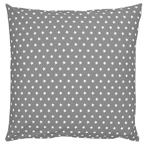 Sugarapple Kinderkissen Bezug 50x50 cm, Deko Kissen Hülle, 100% Baumwolle ÖkoTex Standard mit Reißverschluss, grau Sterne weiß