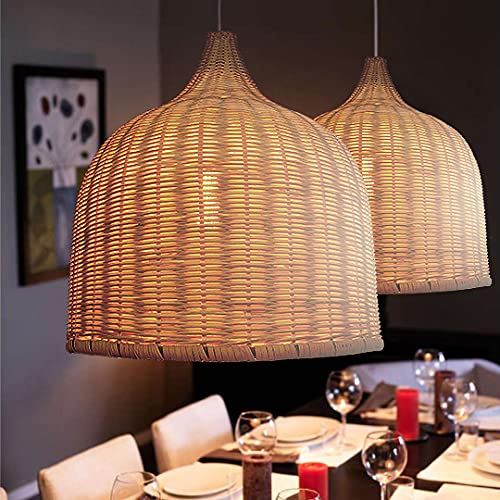 Rattan Woven Pendant Light, Handmade Ceiling Pendant Lighting Chandelier, Hanging Lampshade Fixture Home Decoration (35cm38cm, Natural Color)