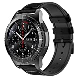 TiMOVO Replacement Band Compatible with Samsung Gear S3 Classic/Frontier/Galaxy Watch 46mm, 22mm Leather & Silicon Band Wrist Strap fit Moto 360 2nd Gen 46mm/Amazfit 1/2/2S/Huawei Watch GT - Black