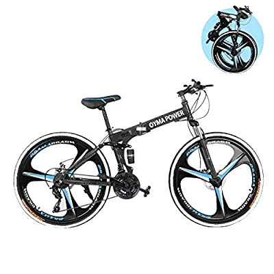 "Folding Mountain Bike for Men & Women - 26"" Outdoor Exercise Road Bikes with 21 Speed High-Carbon Steel Dual Disc Brakes Full Suspension Non-Slip (C Black)"