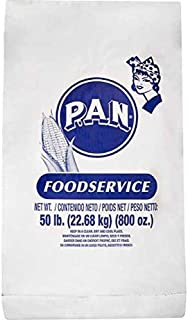 P.A.N. White Corn Meal – Pre-cooked Gluten Free and Kosher Flour for Arepas, 50 lb (22.68 kg) (800 oz)
