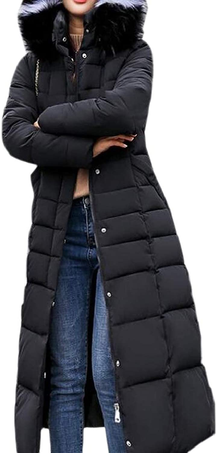 QDCACA Women Slim Fit Thickened Hooded Long Down Quilted Jacket Coat Overcoat