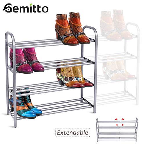 GEMITTO Schuhregal Ausziehbar mit 4 Ablagen, Robust und Stilvoll Schuhständer Platzsparend Erweiterbar Schuhablage Silbergrau (60-106) x 22,5 x 61,5 cm