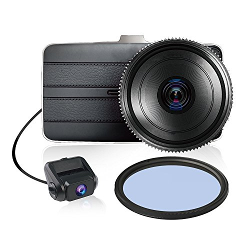 KDLINKS DX2 Full-HD 1080P Front + 720P Rear 290° Super Wide Angle Car Dash Cam with G-Sensor & WDR...