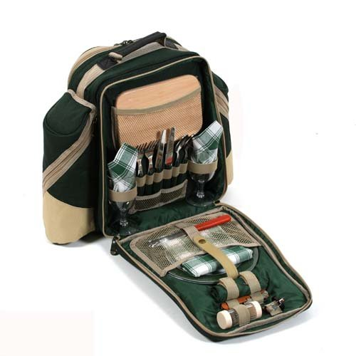 Greenfield Collection Deluxe 2 Personen Picknick Rucksack mit passender Decke in Förstergrün