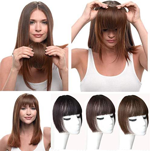 Yanamy Haarteil zum Anklipsen, Echthaar, flache Pony, Haarteil für Frauen