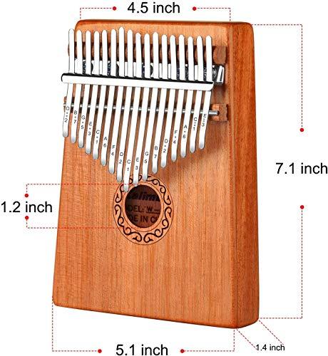 LukyTimo Kalimba 17 tasti - Strumento per pianoforte a pollice in mogano, Portatile Professionale Pianoforte, con Accessori e Istruzione e martello