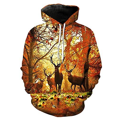 XDJSD Herren Pullover Hoodie Langarm T-Shirt Herren Große Pullover Jacke Cartoon Print Hoodie Lose Casual Paar Pullover