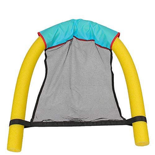 Anzy Silla de fideos, 2 unidades, para piscina, fideos flotantes, bastón de flotabilidad para niños, palo de espuma para natación, silla flotante ideal para relajación del agua (amarillo)