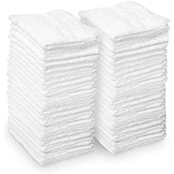 AIDEA Microfiber Cleaning Cloths White, Strong Water Absorption, Lint-Free, Scratch-Free, Streak-Free, Dish Towels White (11.5in.x 11.5in.)—50PK