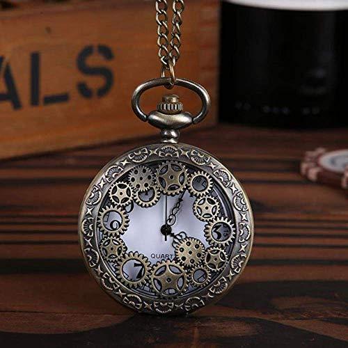 Vintage Steampunk Bronze Design Taschenuhr Quarz Anhänger Halskette Geschenk für Männer und Frauen Punk Style Zubehör Hohl Taschenuhr