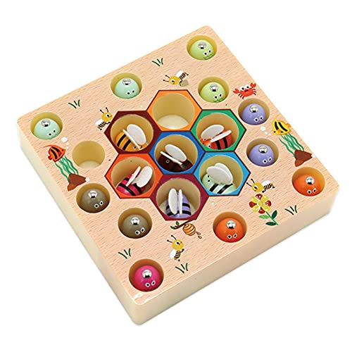 / Pack Juego de pesca magnético Juguete de madera, Juguete de aprendizaje Montessori, Juguetes educativos de madera para niños pequeños, Juguetes de aprendizaje preescolar Juegos de mesa de pece