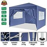 Garten 3X3M Wasserdicht Pavillon Partyzelt/Faltpavillon/Gartenpavillon/Gartenlauben/Party-Und Festzelt/Camping-Und Festival-Zelt/Hochzeit mit 4 Seitenteilen/Seitenwänden (Blau2)