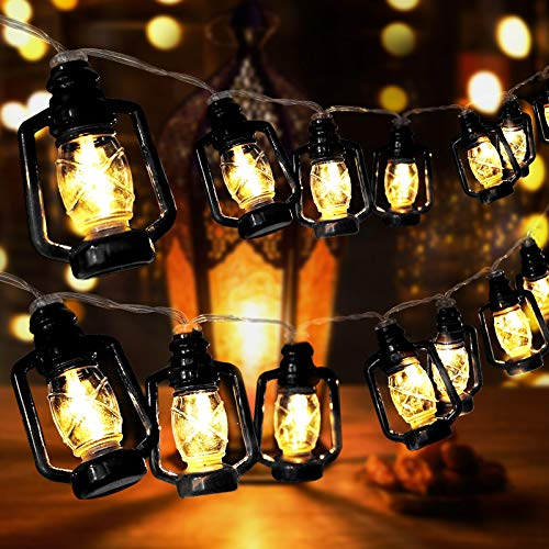 AceList 30 LED Black Lantern String Lights Mini Kerosene Lamp for Indoor Outdoor Patio Garden Holiday Home Ramadan Wedding Party Christmas Tree New Year Decorations(Warm White Light)