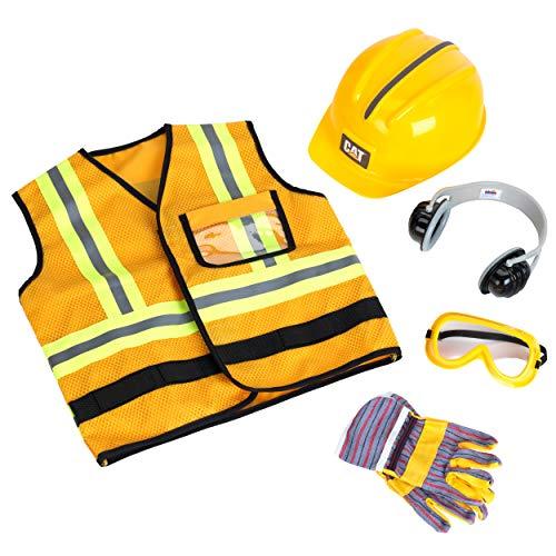 Theo Klein 3224, Spielzeu CAT Bauarbeiter Set, 5-teilig, mit Bauarbeiterweste, Helm, Ohrenschützer, Arbeitsbrille und Arbeitshandschuhen, Spielzeug, Multicolor