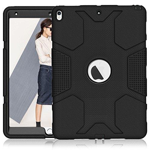 iPad Pro 10.5Fall, nokea Robust Dämpfung High Impact Resistant Hybrid Dual Layer Silikon + Hard PC Bumper Schutzhülle für Apple iPad Pro Maurerkelle 2017, Schwarz